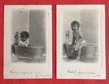2 CPA. 1903. Petit Enfant. Toilette. Bain. Baignoire. Robinet Col de Cygne.
