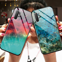 For Samsung Galaxy Note 10 Plus 9 Marble Pattern Tempered Glass Case Cover