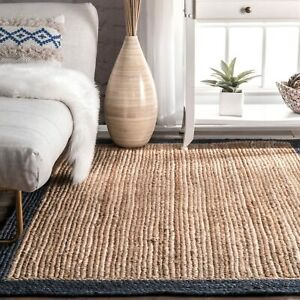 indian beautiful natural jute rugs with blue boarder indoor jute rug area rugs
