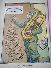 Humour Concert des Nations Genève Le BOMBARDON dessin Print 1936
