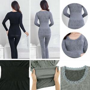 Womens Thermal Underwear Set Long Sleeve Winter Warm Shaping Slim Top Pajama New