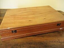 ~VINTAGE SILKY OAK TIMBER CUTLERY BOX - LINED - INCLUDES CUTLERY - GC~