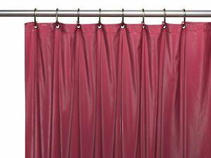 Burgundy 3-Gauge Vinyl Shower Curtain Liner with Metal Grommets & Magnets