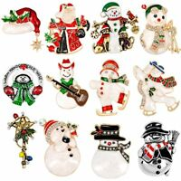 Lovely Christmas Crystal Snowman Brooch Pin Corsage Family Xmas Party Jewelry