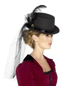 Deluxe Ladies Victorian Top Hat Black with Veil Fancy Dress Accessory