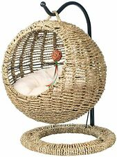 Wicker Bed Basket Swinging Pet House Couch Nest for Small Dog Cat With Cushion