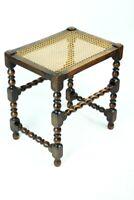 Antique Mahogany Barley Twist Piano Dressing Stool with Cane Seat [5280]