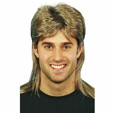 Mens Country Western Singer Rocker Mullet Costume Wig Blonde Highlighted Hair