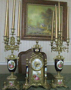 Two 5 Stick Candelabras Gilded Brass Blue Sevres Porcelain with quartz clock