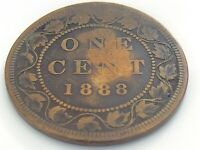 1888 Canada 1 One Cent Large Penny Copper Circulated Canadian Victoria Coin J477