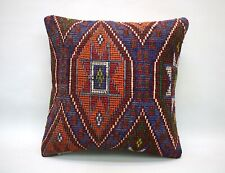 Kilim Square Pillow, 18x18 in, Decorative Throw Cushion, Handmade Vintage Pillow
