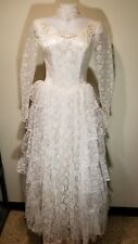 1950's Vintage Wedding Dress Lace with Satin Underlay. Champagne with Ivory.