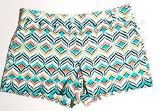 Crown and Ivy Womens Size 14 petite shorts cotton geometrical $44 tag price NWT