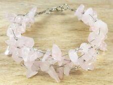 *Freedom Tree* Rose Quartz Gemstone Cuff Bracelet Hand Made Chakra Healing
