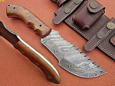 Union Knives Custom Hand Made Damascus Steel Tracker Knife Rose Wood Handle.