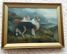 More details for collie pair in highland landscape dog painting oil on canvas by charles dudley