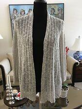 NWOT Eileen Fisher Petite Bone Open Front Woven Sweater Size XL Viscose Linen