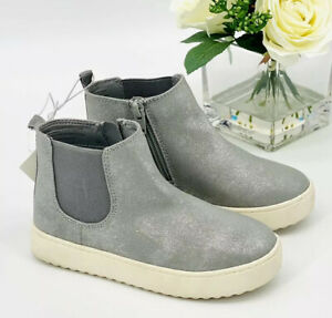 NEW Girl's Afi Mid Top Sneaker Booties Size 11 Shoe Silver Gray Cat & Jack