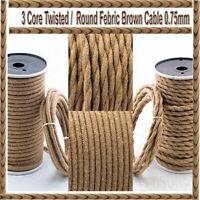 Twisted/Round Vintage Fabric Lighting Cable Flex 3Core 0.75mm Hemp Rope 5M/10M