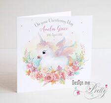 Personalised Girls BABY UNICORN Christening Card - Granddaughter Sister Niece