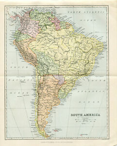 1897 South America Original Antique print map