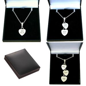 Personalised Necklace with One, Two or Three Hearts, Names Engraved, in Gift Box
