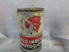 Original Early Red Indian  Motor Oil Imperial Quart Metal Can