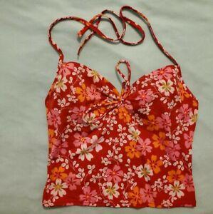 Victoria's Secret Red & White Floral Tankini Swimsuit Top Women's Size 36D