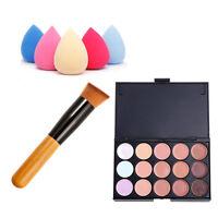 15 Colors Contour Face Cream Makeup Concealer Palette Sponge Powder Brush.