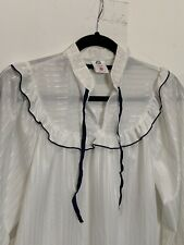 Vintage White Frilly 1970s Blouse Shirt