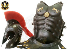 Medieval Armour Larp Helmet and Medieval Chest Plate Black Finish Brass Work