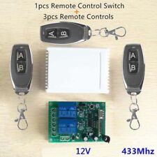 2CH 433MHz Relay 3pcs Remote Control Switch Transmitter+Receiver for Garage Door