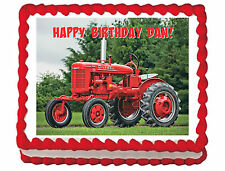 Vintage Red Tractor image cake topper frosting sheet personalized icing