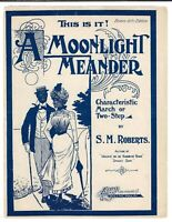 BLACK AMERICANA Sheet Music A MOONLIGHT MEANDER Piano Two-Step ROBERTS 1890