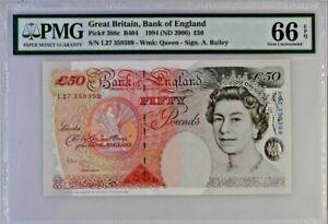 Gem UNC 50 pounds Britain RARE Prefix L 388c Bank of England £50 B404 2006 66EPQ