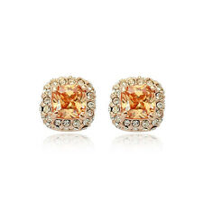 LOVELY 18K GOLD PLATED GENUINE TOPAZ CZ & AUSTRIAN CRYSTAL SQUARE STUD EARRINGS