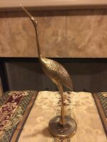 Vintage Solid Polished Brass Crane Bird Figure Mid Century Great Condition