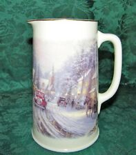 Thomas Kinkade pitcher Village Christmas red car gold rim Hallmark 2000 26 oz