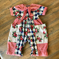 Vtg Bercot Overall 12 Months Girl Cotton Blue Red Fruit Gingham Longall Romper