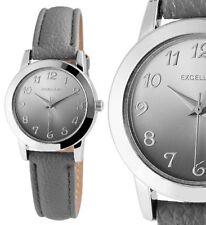 Damen Armbanduhr Silber/Grau Kunstleder-Armband schick & schlicht von Excellanc