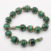 VINTAGE AFRICAN JADE MALACHITE BALL BEAD LADIES COSTUME BRACELET BANGLE