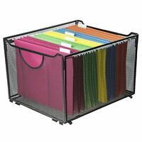 Black Metal Mesh File Box/Foldable Storage Crate/Home Office Folder Holder