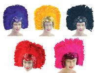 #ADULT HEADDRESS FEATHER DELUXE PURPLE GOLD OR BLACK FANCY DRESS CARNIVAL HAT