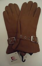 Ladies Cire Genuine Leather Wriststrap Driving Gloves,M, Camel