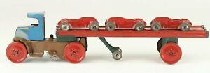 Vintage Scarce Marx Tin Litho Windup MACK Car Hauler w/ 3 Racers Set