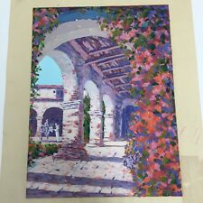 "Original Painting Capistrano Mission By John W Bentley 9"" X 12"" Gouache On Paper"