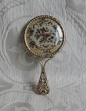 Specchietto da borsetta in ottone decorato c 1950 Vintage Brass Miniature Mirror