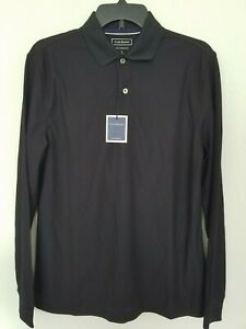 Club Room Mens Small Black Performance UPF 50+ Long Sleeve Polo Shirt NWT
