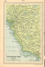 1930  SMALL VINTAGE MAP -  CALIFORNIAN COAST