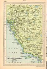 1930 pequeños Vintage Mapa-costa californiana